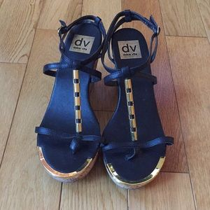 Dolce Vita black and gold heels